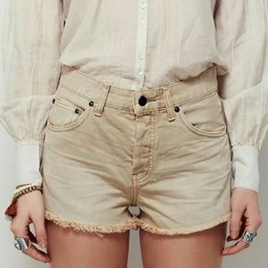 Free People Faded Wash Uptown Rock Shorts Hi-Rise